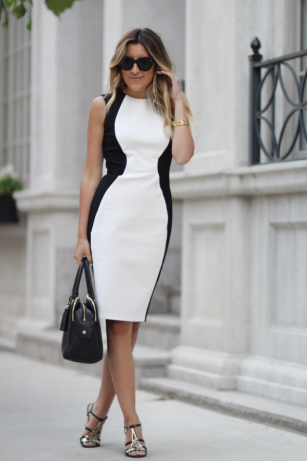 Bodycon dress with black side panels