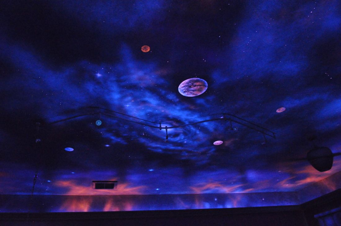 Awesome ceiling night sky mural blacklight for Black light mural