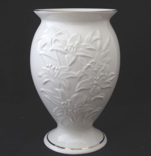Lenox Vase With Embossed Lillies Ivory With Gold Trim Mint