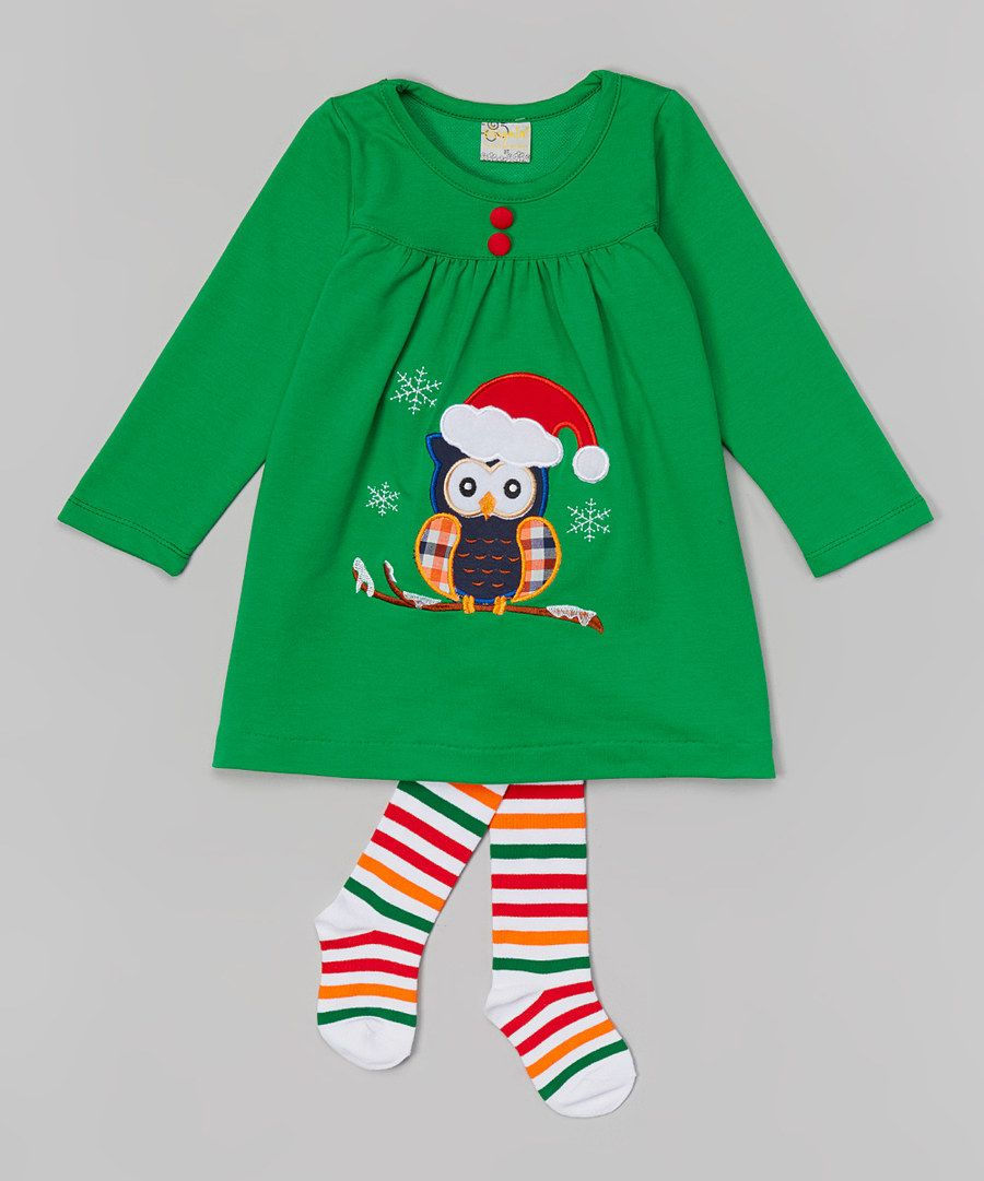 Look at this the Silly Sissy Green Owl Appliqué Dress & Tights - Infant & Toddler on #zulily today!