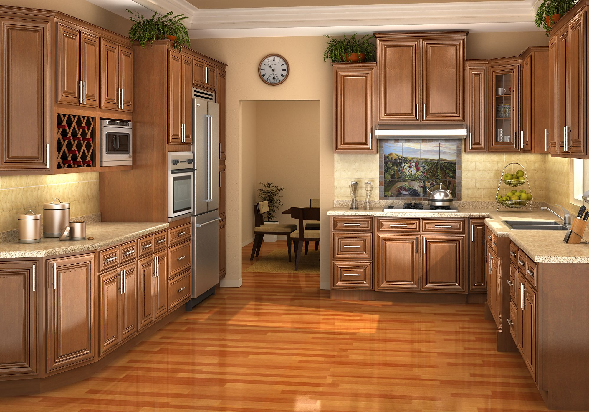 Chestnut Pillow Cabinet Finish Assembled Kitchen Cabinets Kitchen Cabinet Kings Glazed Kitchen Cabinets