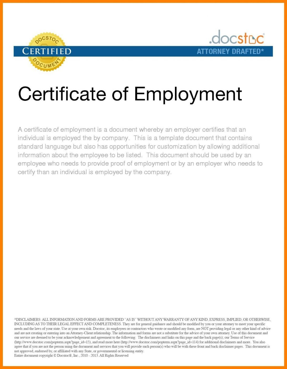 016 Sample Certificate Of Employment Certificates Stunning
