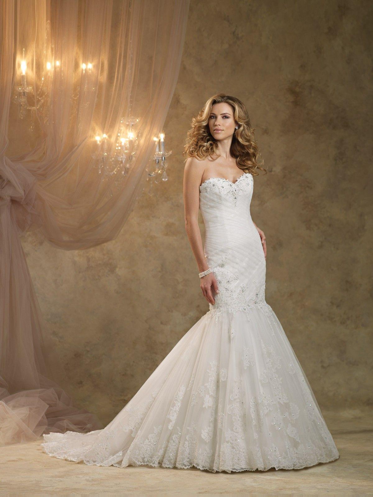 elegant-sweetheart-chapel-train-tulle-trumpet-mermaid-wedding ...