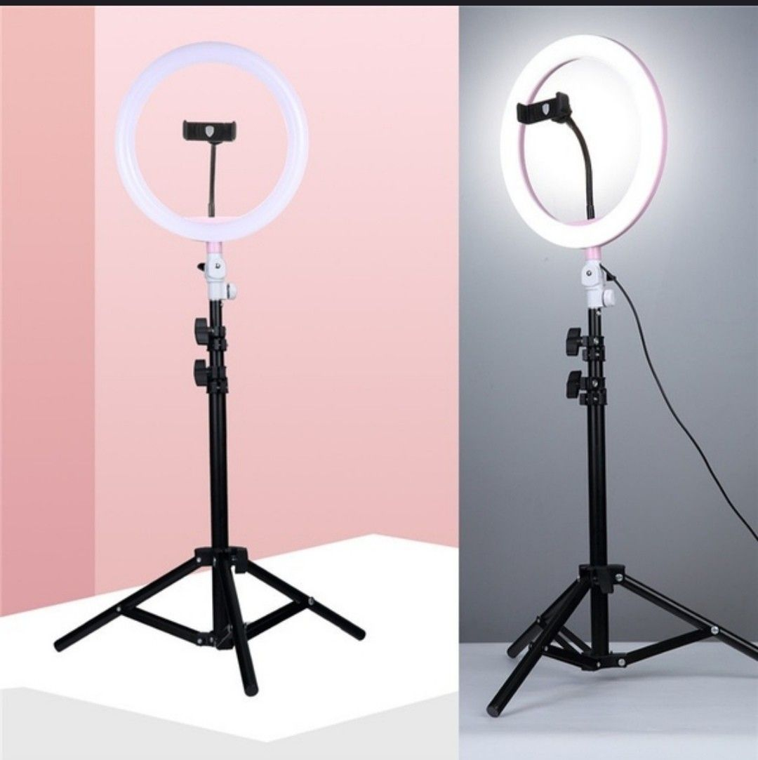 26cm Ring Fill Light Lamp With Phone Clip 1 1m Tripod For Selfie Photography Live Streaming Camera Video Beauty Wish In 2020 Ring Light Photo Led Ring Light Lamp Light