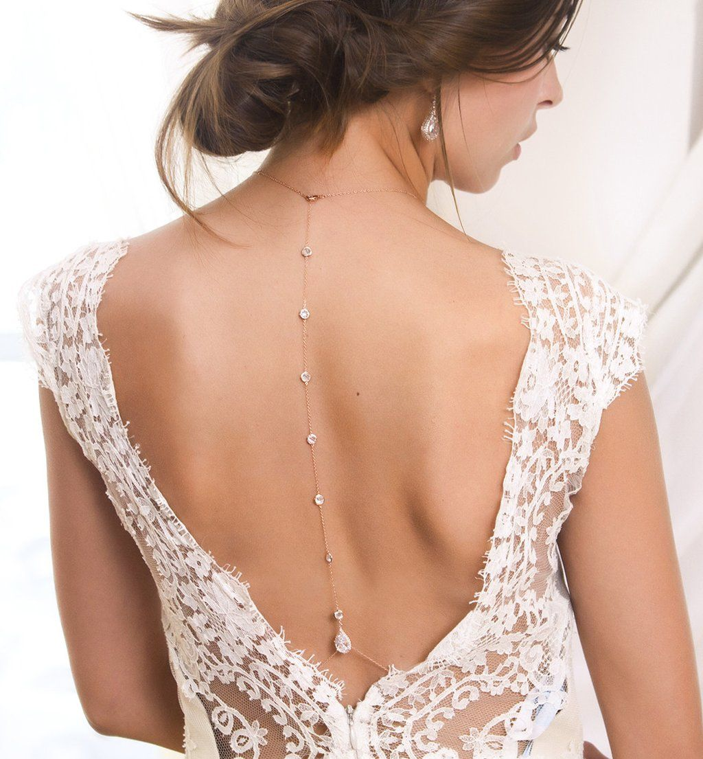 Margaux cz rose gold back pendant necklace wedding coming together