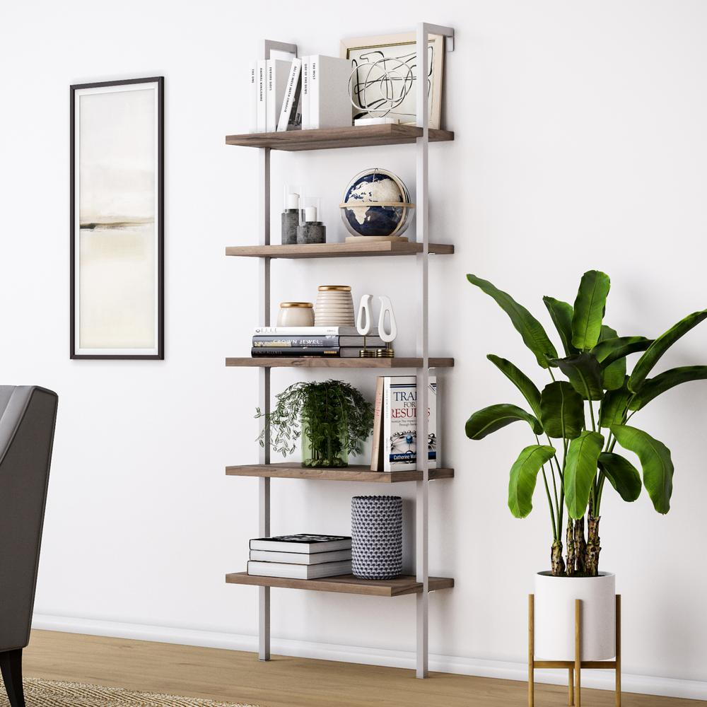 Nathan James Theo Natural Light Brown 5 Shelf Ladder Bookcase Or Bookshelf With White Metal Frame 65502 Ladder Bookcase Ladder Bookshelf Office Furniture Modern