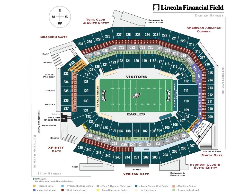 Eagles Seating Chart Lincoln Financial Field Seating Charts Philadelphia Eagles Stadium