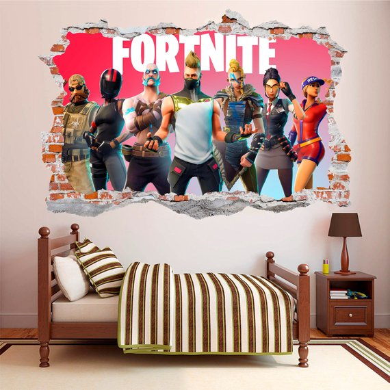 fortnite 3d smashed wall sticker wall decal kamer on wall stickers id=66843