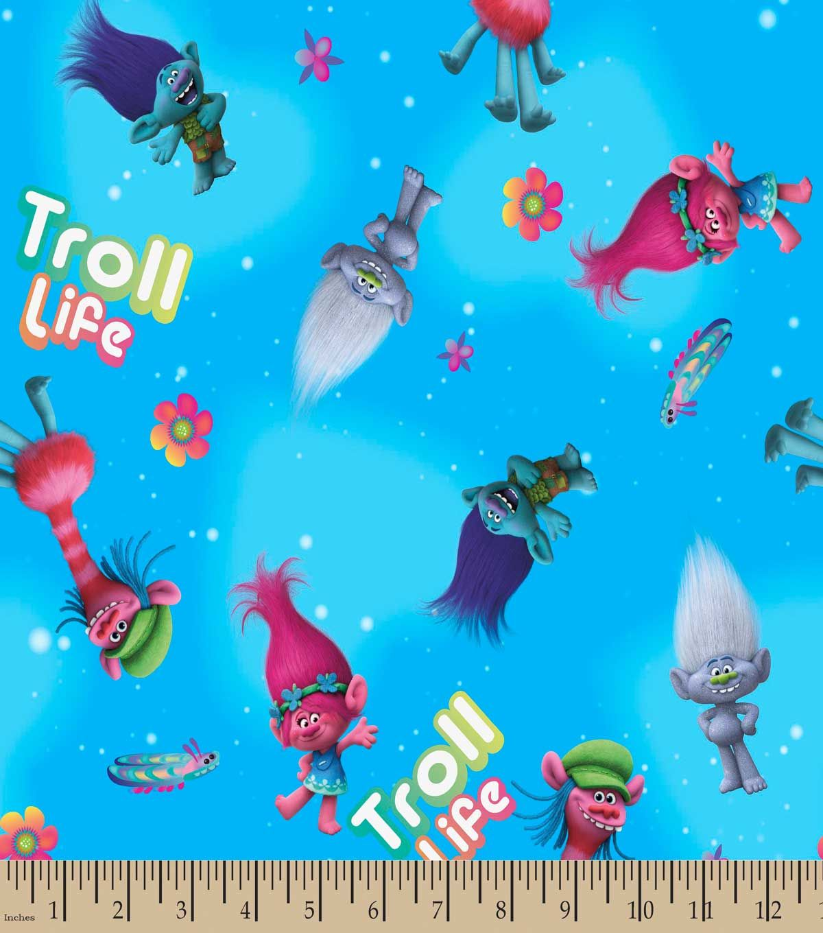Trolls troll life print fabric fabric finds with joann for Kids character fabric