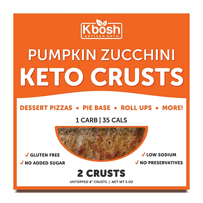Kbosh Keto Crusts - The #1 Pumpkin Zucchini Keto Pizza Crust - Only 1 Carb & 35 Cals per serving - Delicious, Sugar-Free, Low Carb Crusts for Keto-Friendly Recipes - 2 EZ Store Packs - 4 Crusts