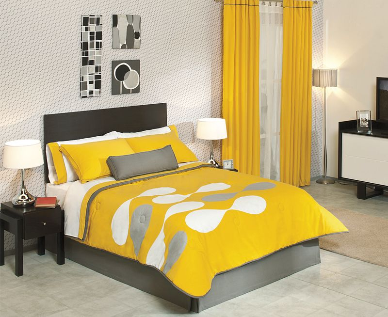 Yellow And Grey Decorating | Taniz Edredones Y Colchas En Cancun De La  Marca Vianney En