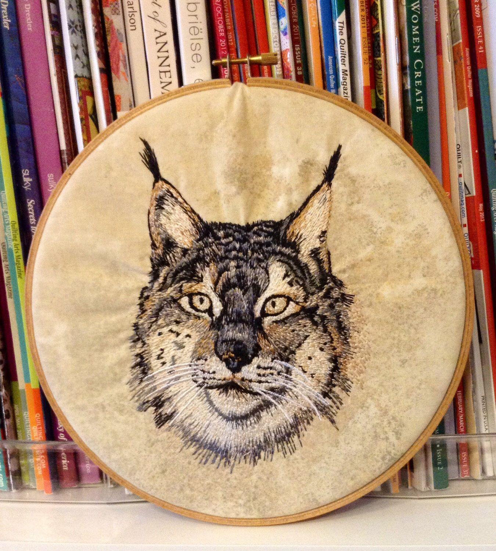 Hoop art- lynx-machine embroidered-wall art- size 8\