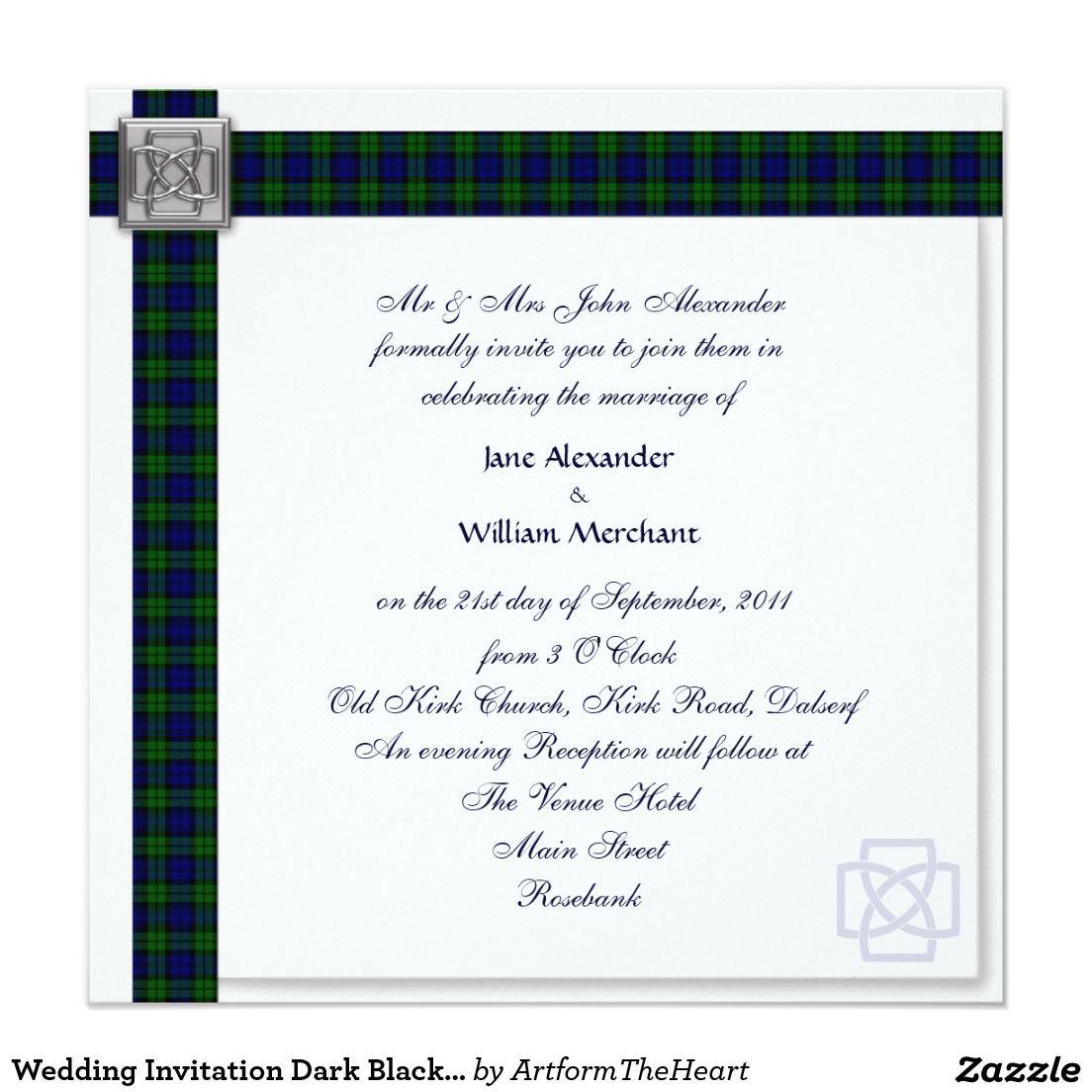 Wedding Invitation Dark Black Watch Tartan | TARTAN WEDDING ...