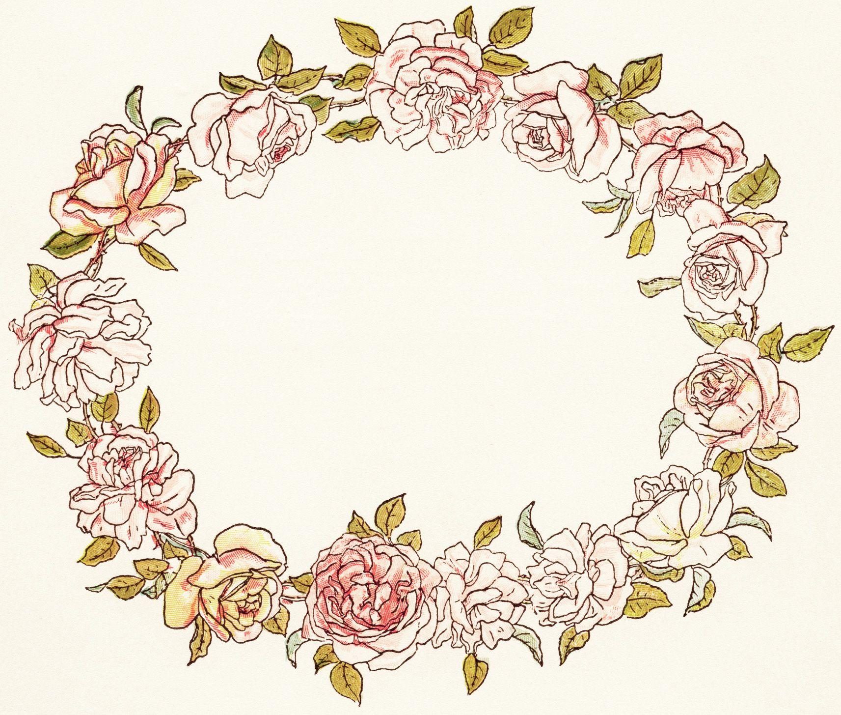Olddesignshop Kategreenawayfloralwreath Floral Wreaths Illustration Vintage Illustration Floral