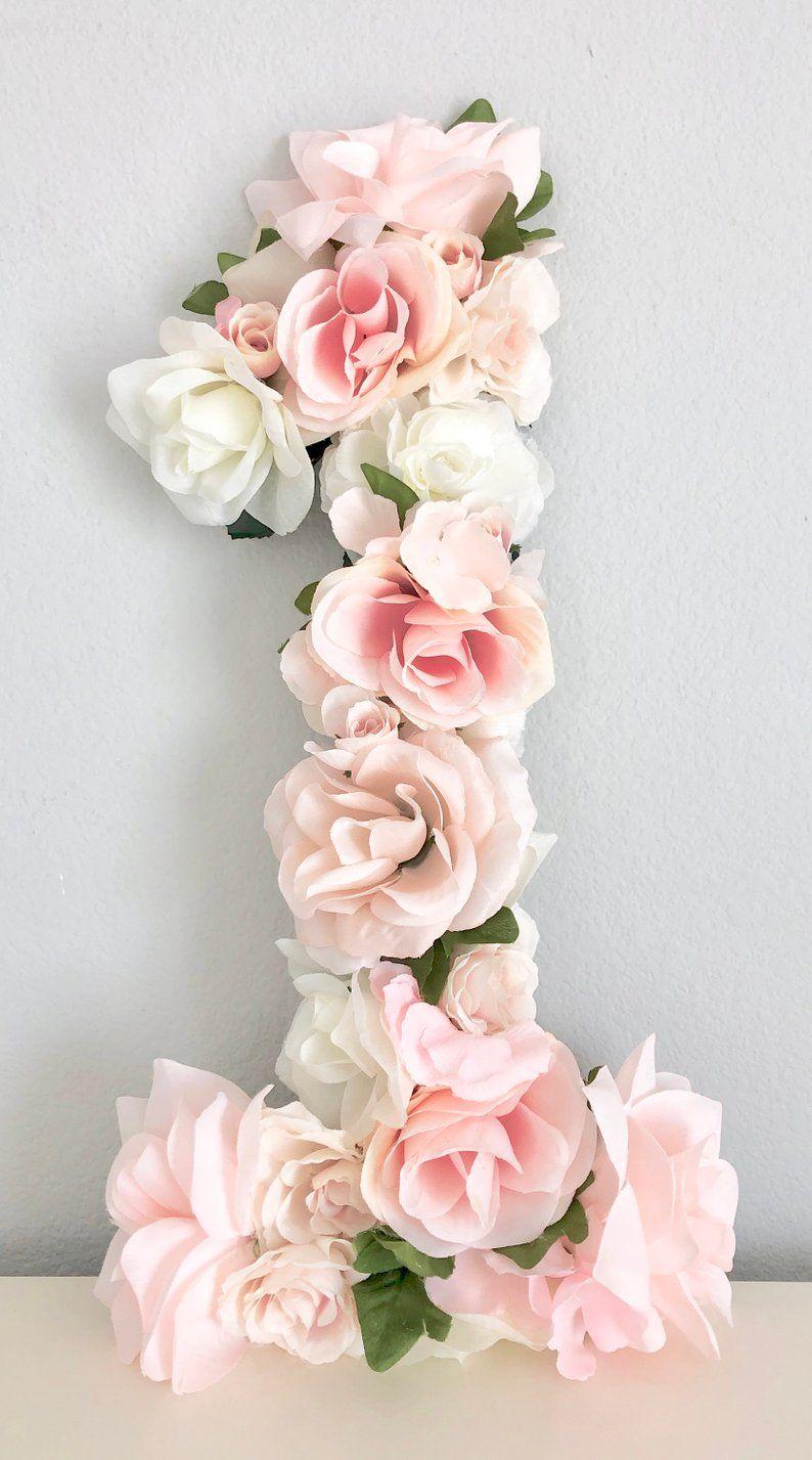 Floral Number, First Birthday Decor, Flower Number, Floral First Birthday Party Decor, Floral Party Decor, Baby First Birthday, Photo Prop #firstbirthdaygirl