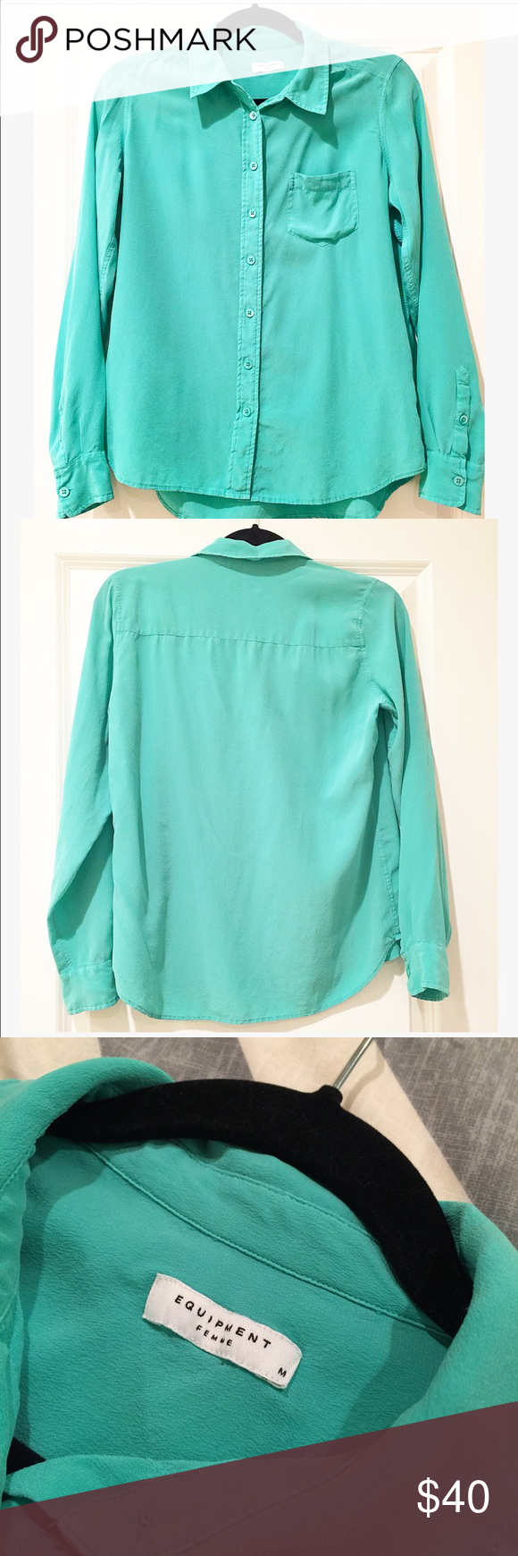 Equipment Silk blouse Teal Sz. M Super soft single pocket Equipment Silk Blouse.  Size Medium.  Only signs of wear is a little fading on buttons.  Color: teal. Equipment Tops Blouses