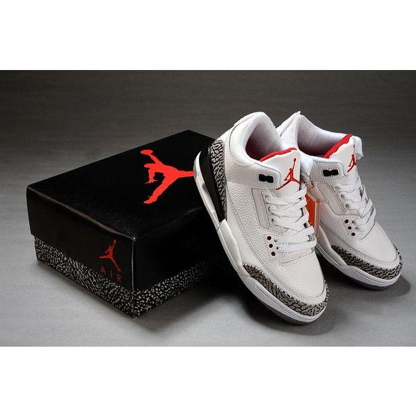 336cb6f9b Discount Air Jordan 3 Retro Shoes(White Black Grey)J3-125 via Polyvore