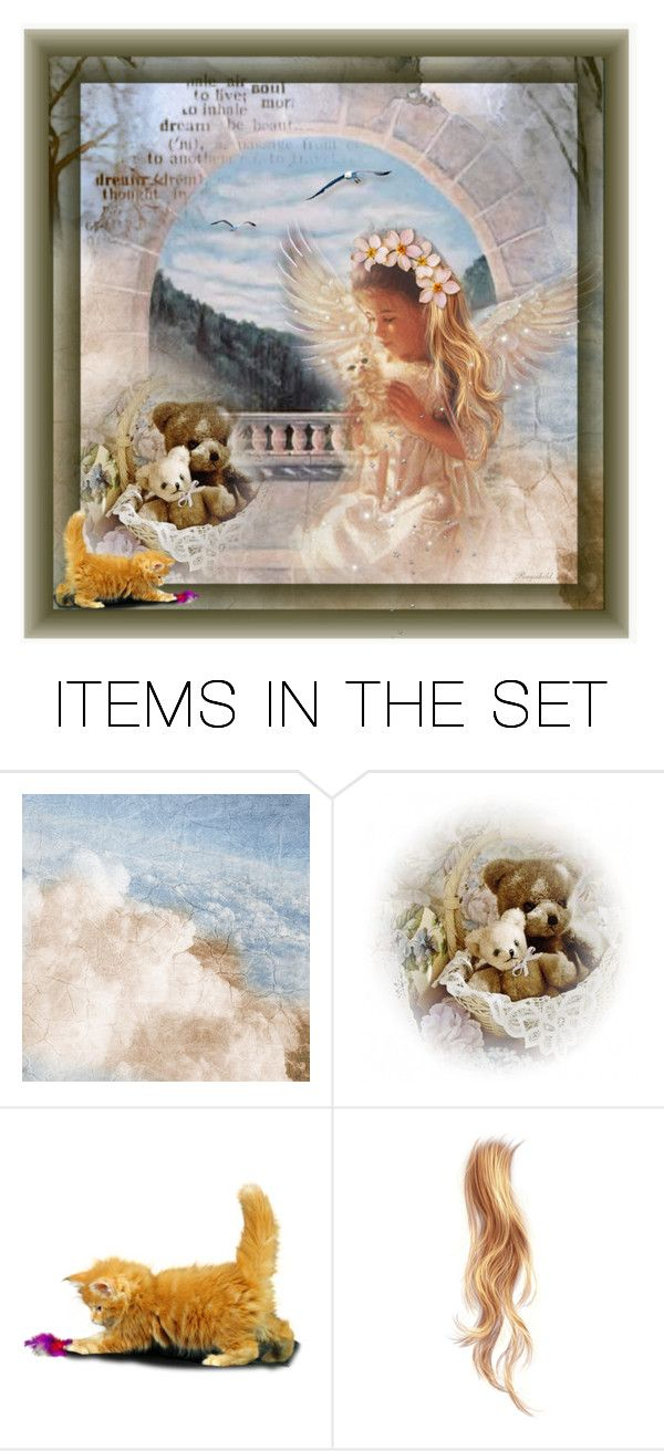 """🦋 In The Arms of an Angel 🦋"" by ragnh-mjos ❤ liked on Polyvore featuring art, angel, cat, pocket, artset and toys"
