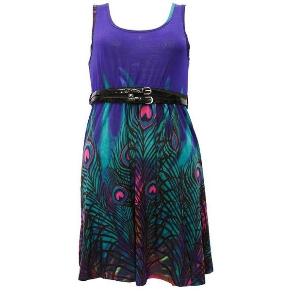 Roshi Peacock Feather Print Sundress - Purple - DRESSES | women's clothes | womens fashion (¥3,210) found on Polyvore