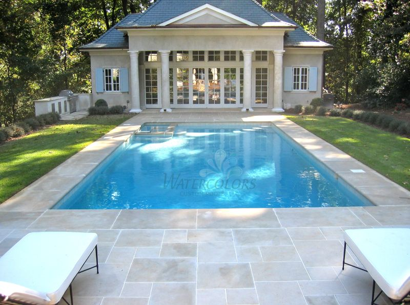 Beautiful pool house w indiana limestone pool decking for Pool with pool house