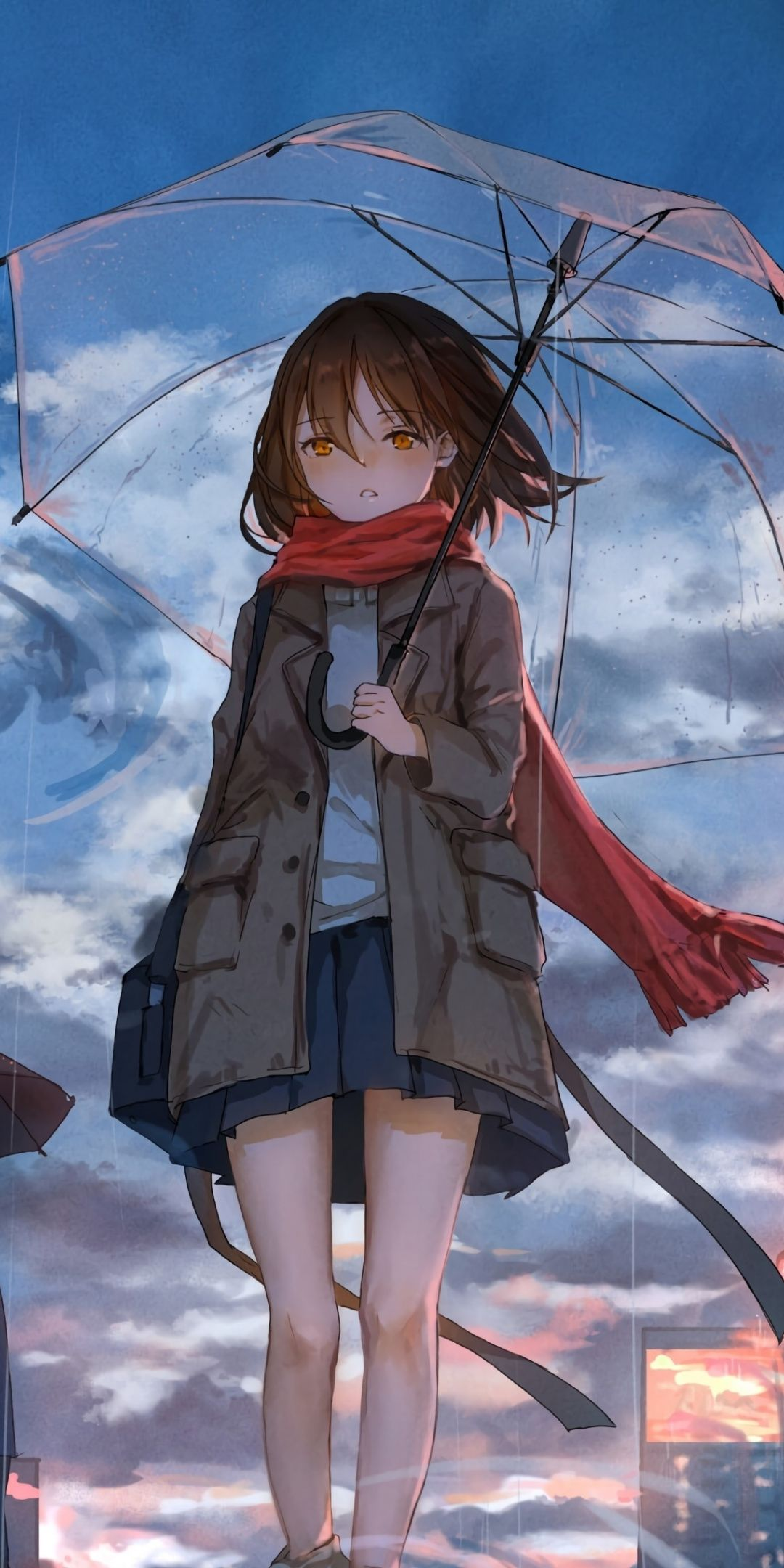 1080x2160 Girl With Umbrella Rain Anime Original Wallpaper
