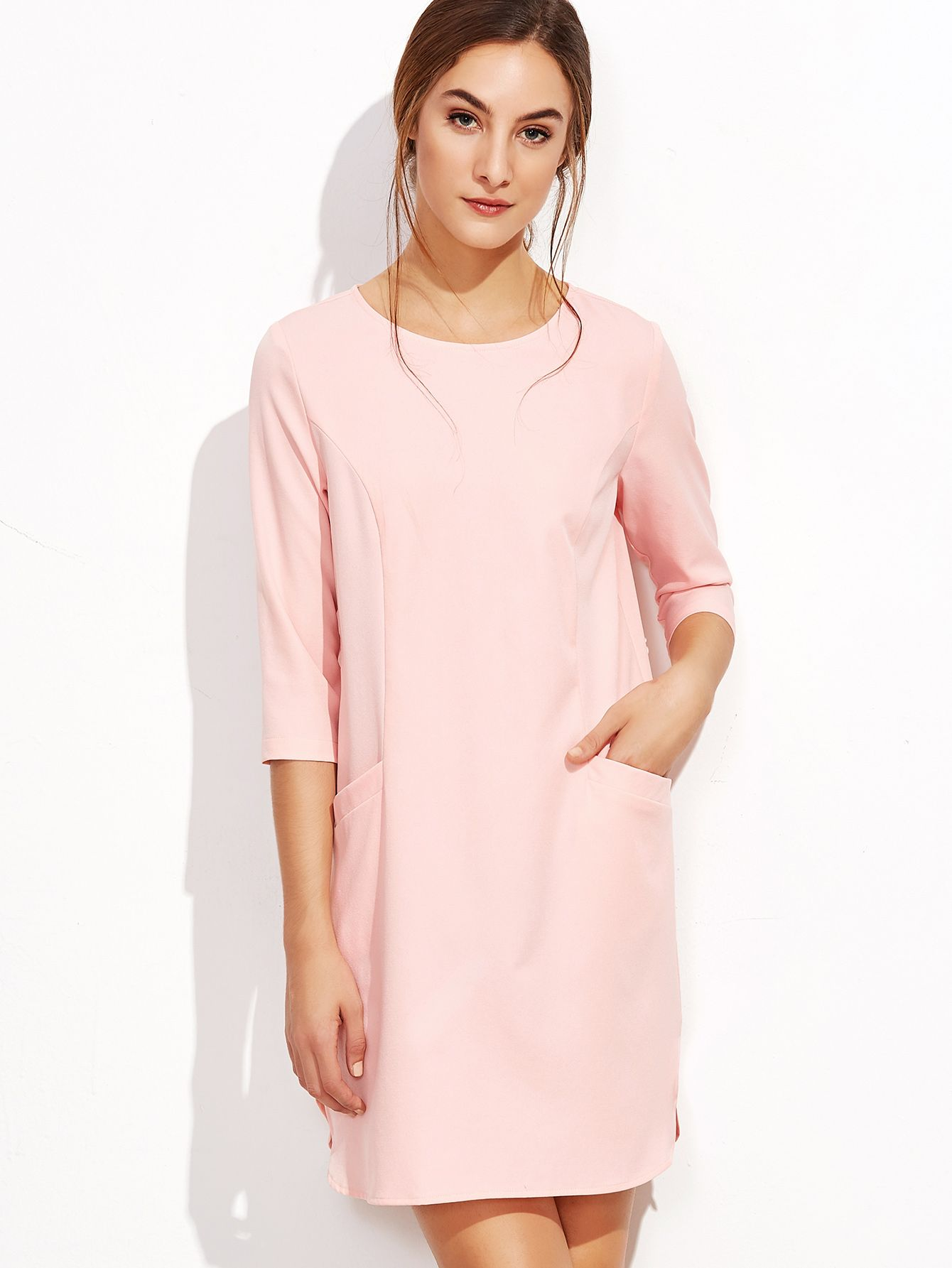 Buy it now pink sleeve keyhole back tunic dress pink casual
