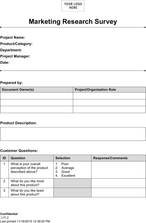 market research survey template templates forms templates