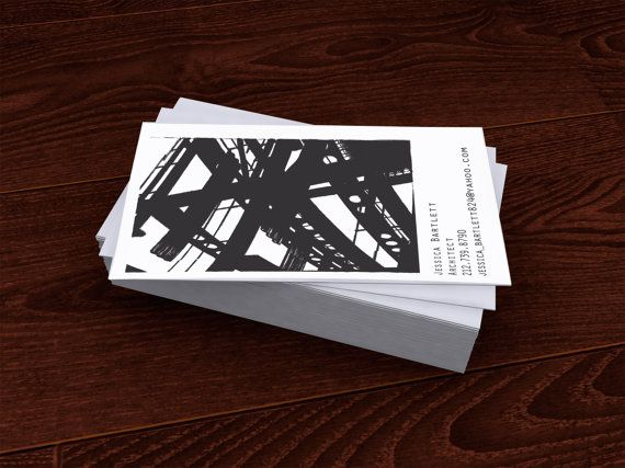 Architect Cards premade customized business card architect building black & white