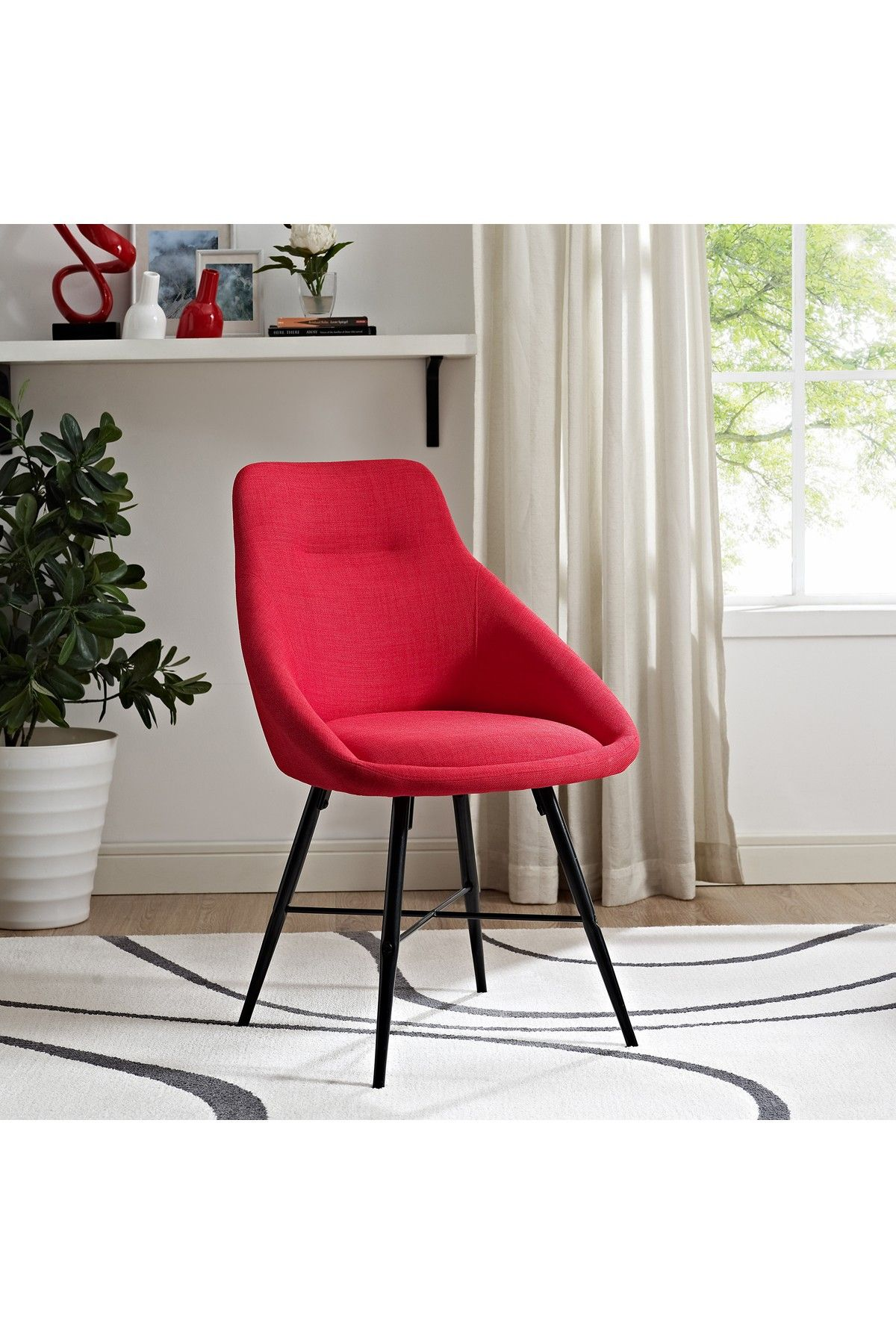 Walker Edison Furniture pany Urban Upholstered Red Side Chair