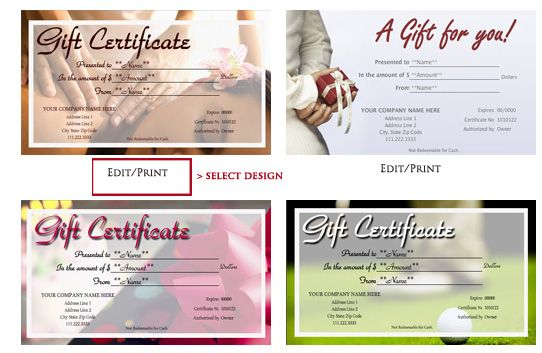 Quickly and easily personalize your Printable Gift Certificates - make your own gift certificates free