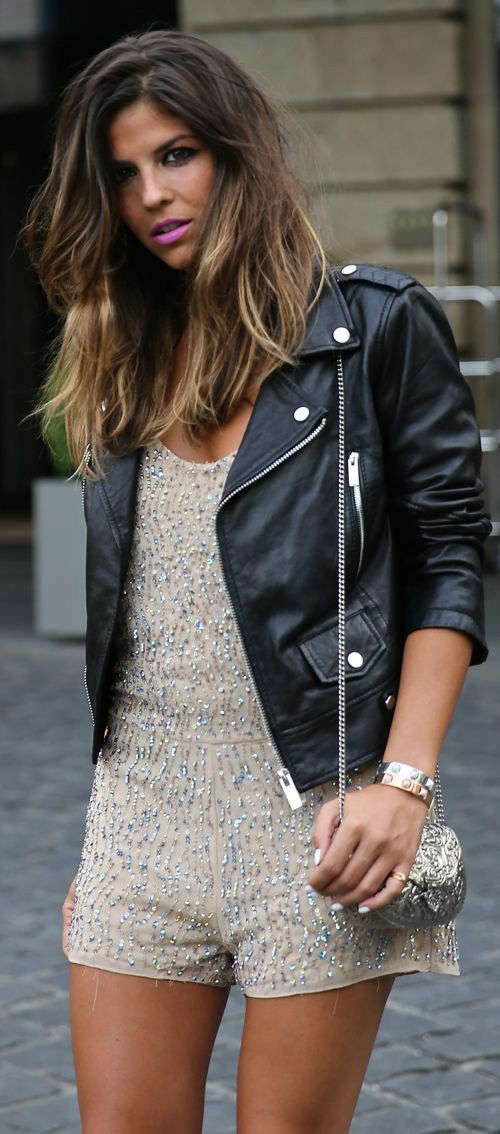 2021cd95c5fd wear a leather jacket with a feminine romper for a nice mix.