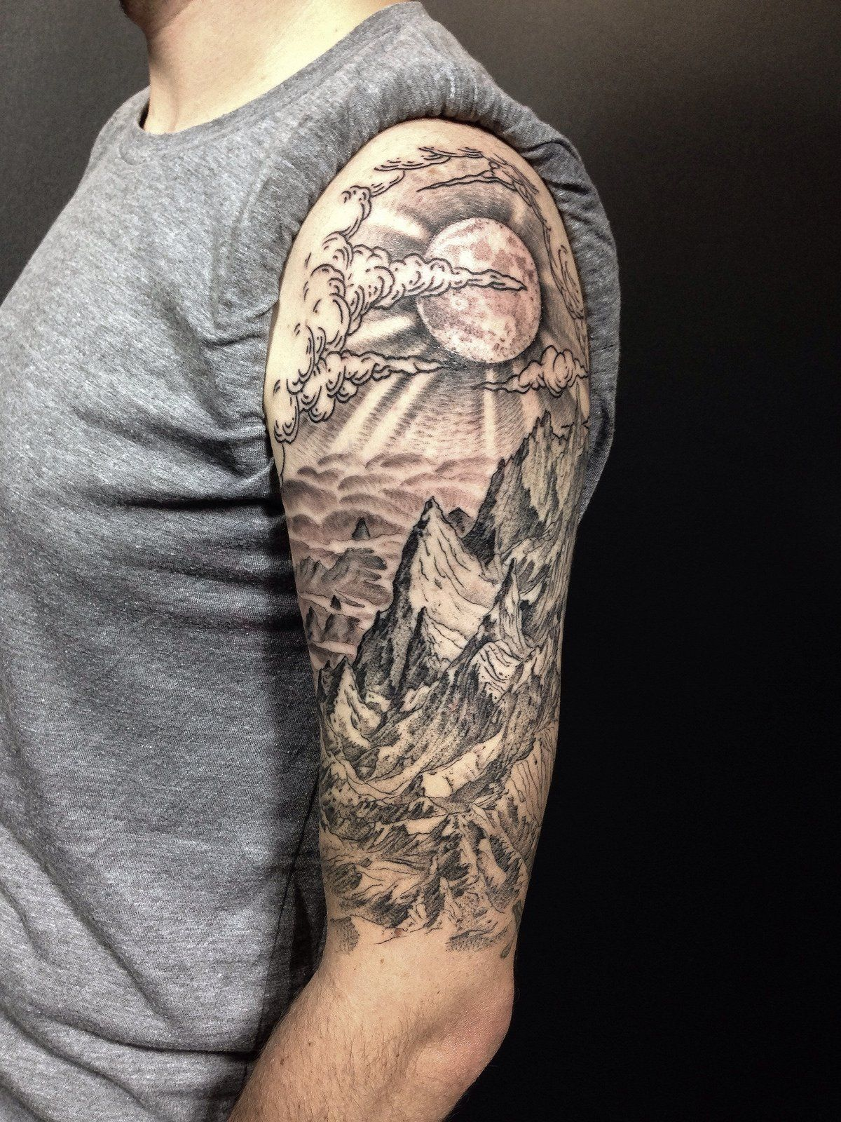 tattoo sleeve mountain nature forest arm mountains