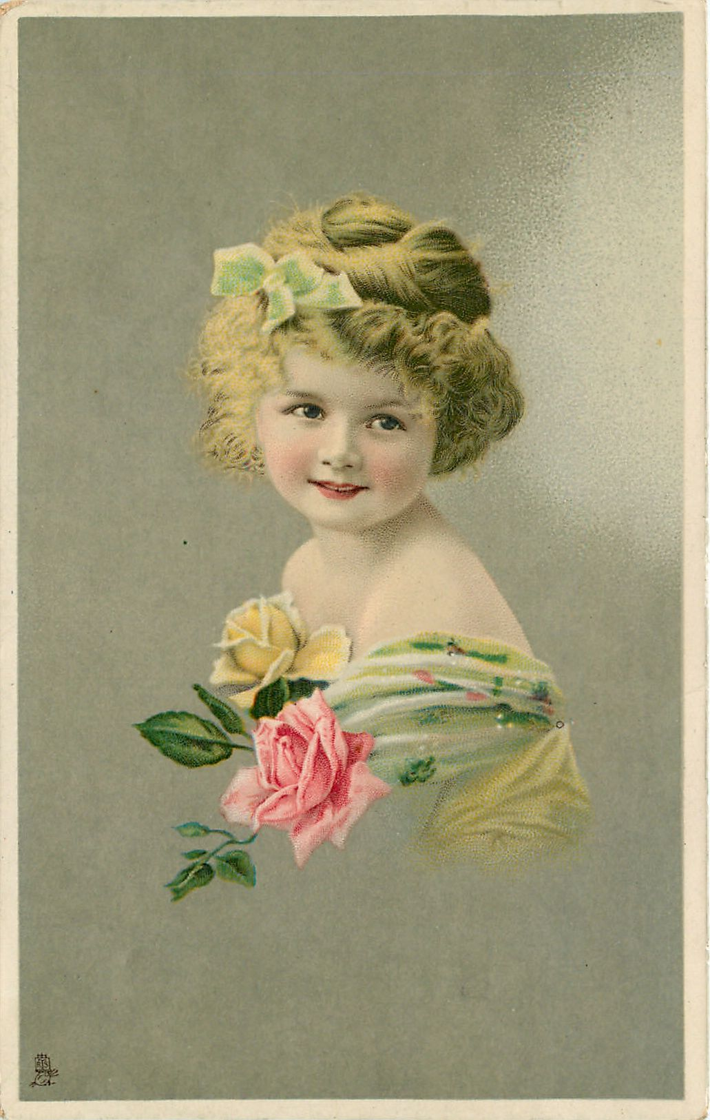 young girl faces left, looks front, pink & yellow roses as corsage