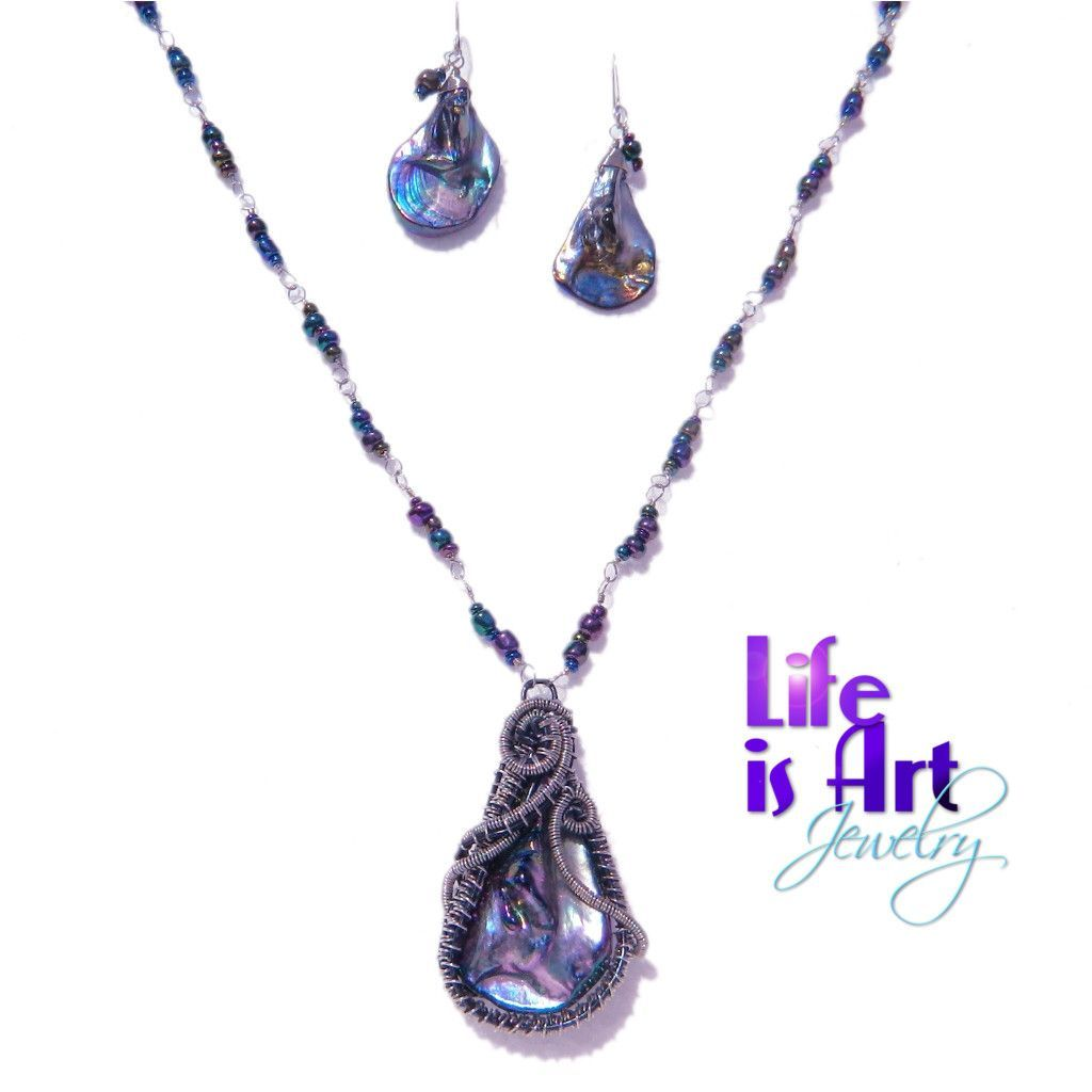 Titanium black blister pearl pendant beaded necklace u earrings