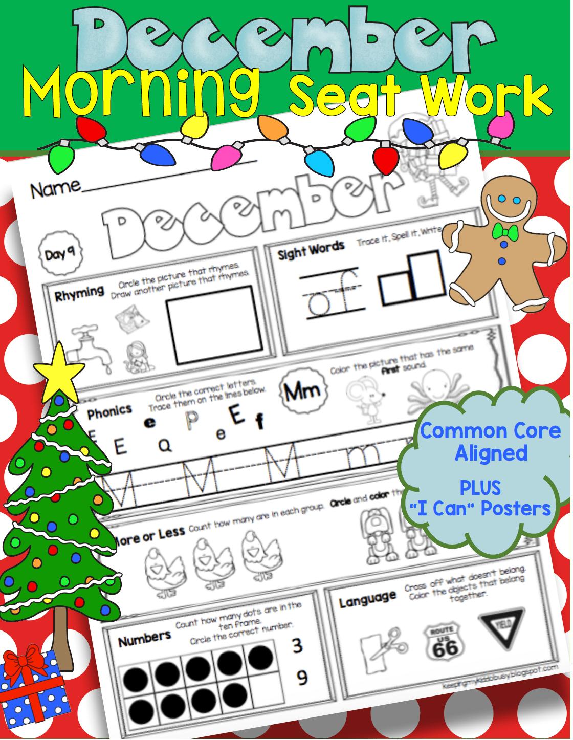 December Morning Seat Work In Kindergarten