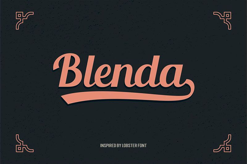 This retro style and bold custom font is from Seniors. Blenda Script is a free experimental font inspired by lobster font. Thisbold vintage scriptcan be used for various purposes:in magazines, p...