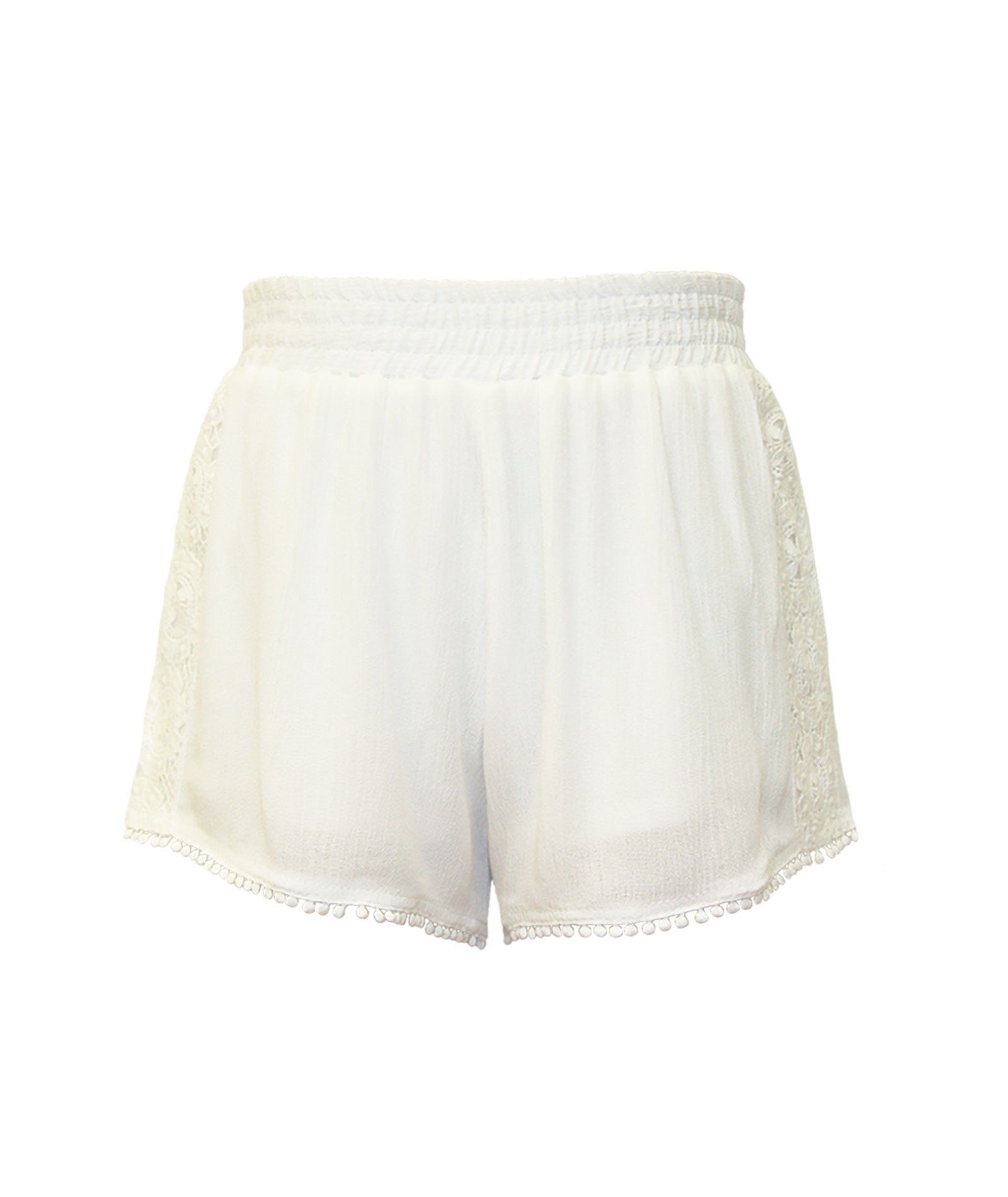 Me.N.U. Girls White Lace Trim Shorts