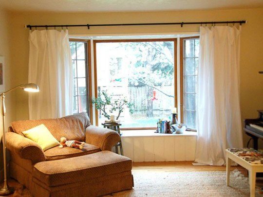 Two Sheets To The Window Easy Diy Curtains Living Room Windows Diy Curtains No Sew Curtains