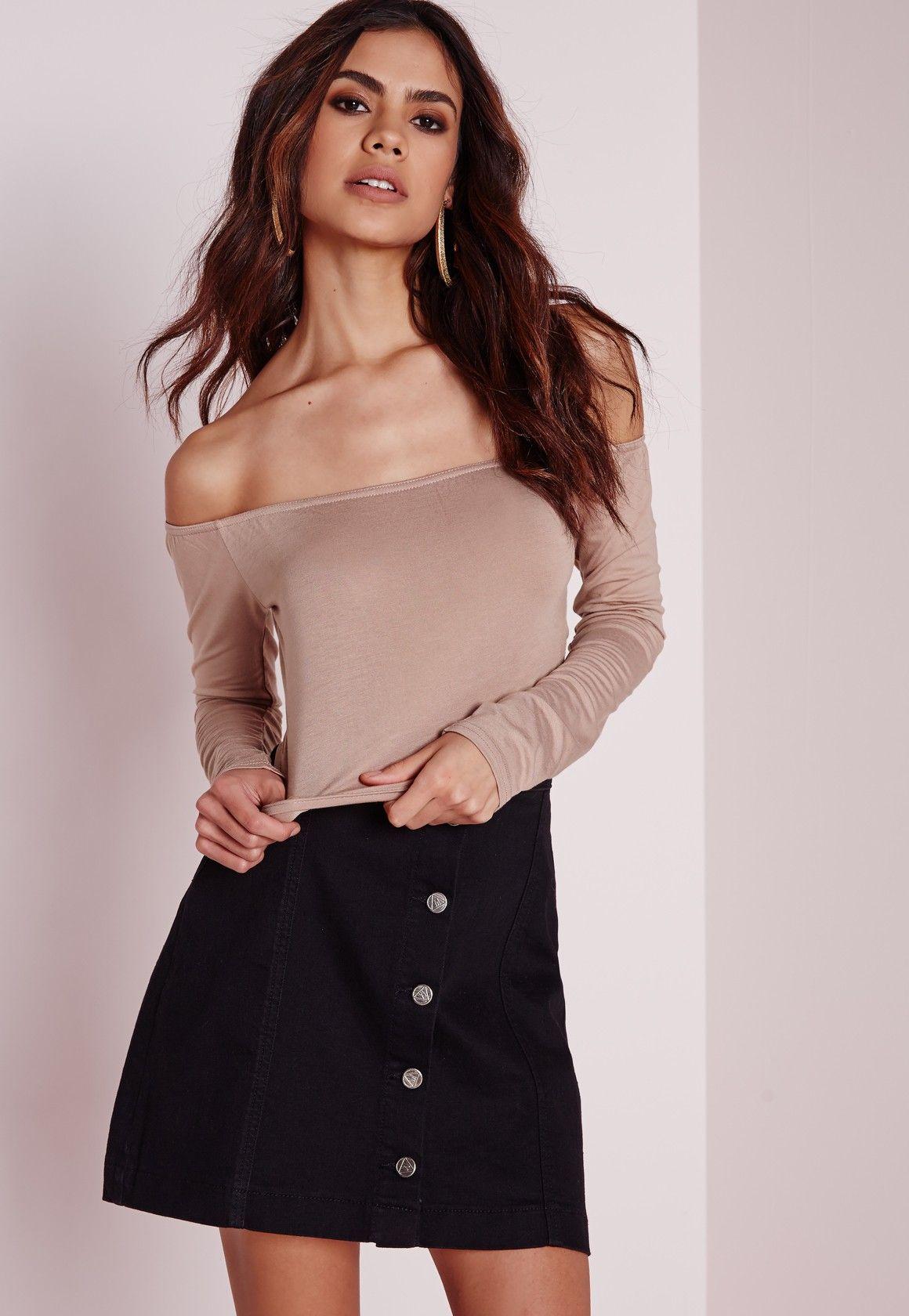 85293bebadb6f Long Sleeve Jersey Bardot Crop Top Nude - Tops - Missguided