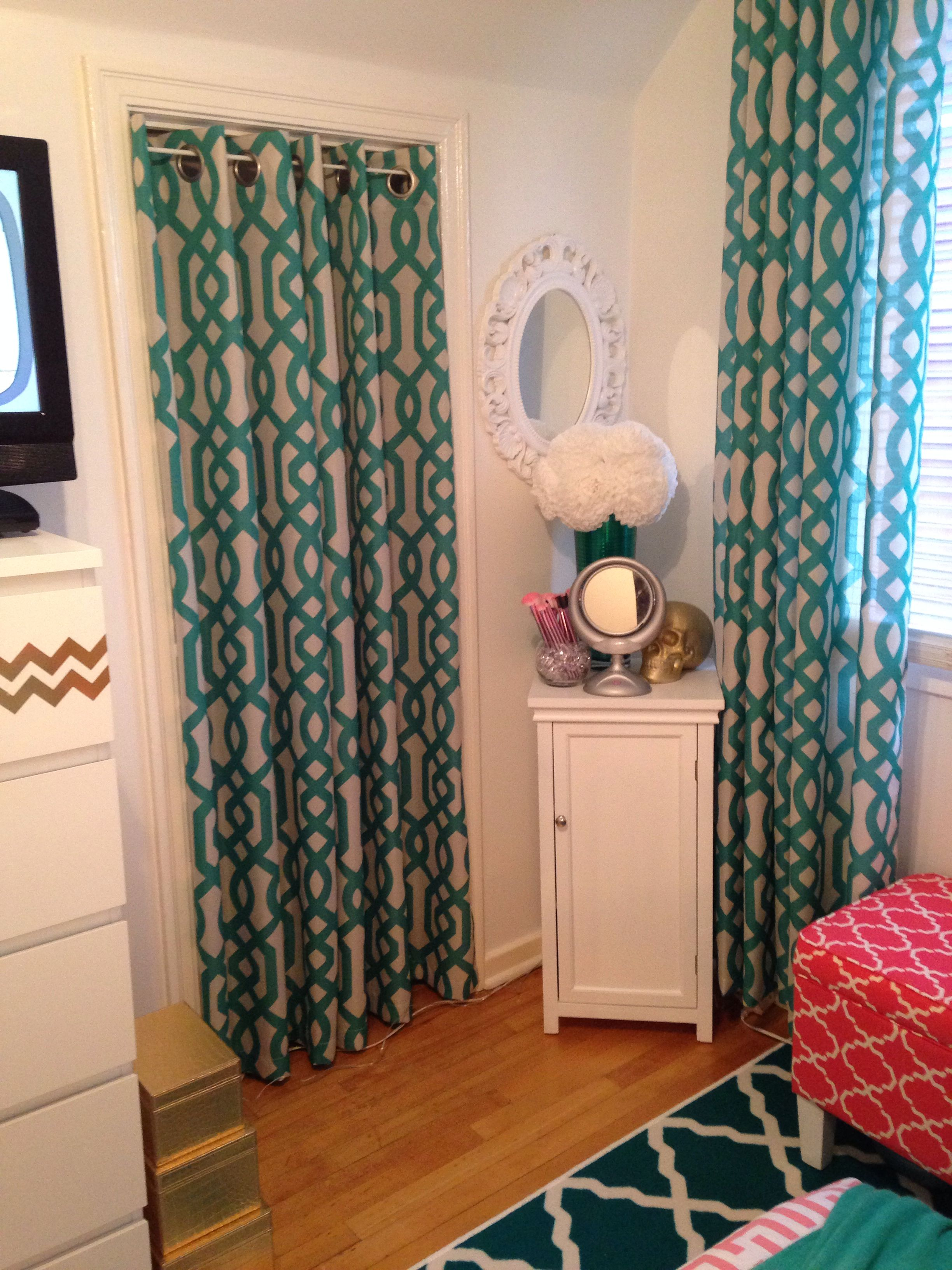 My bedroom makeover coral jade and white Curtains from homesense
