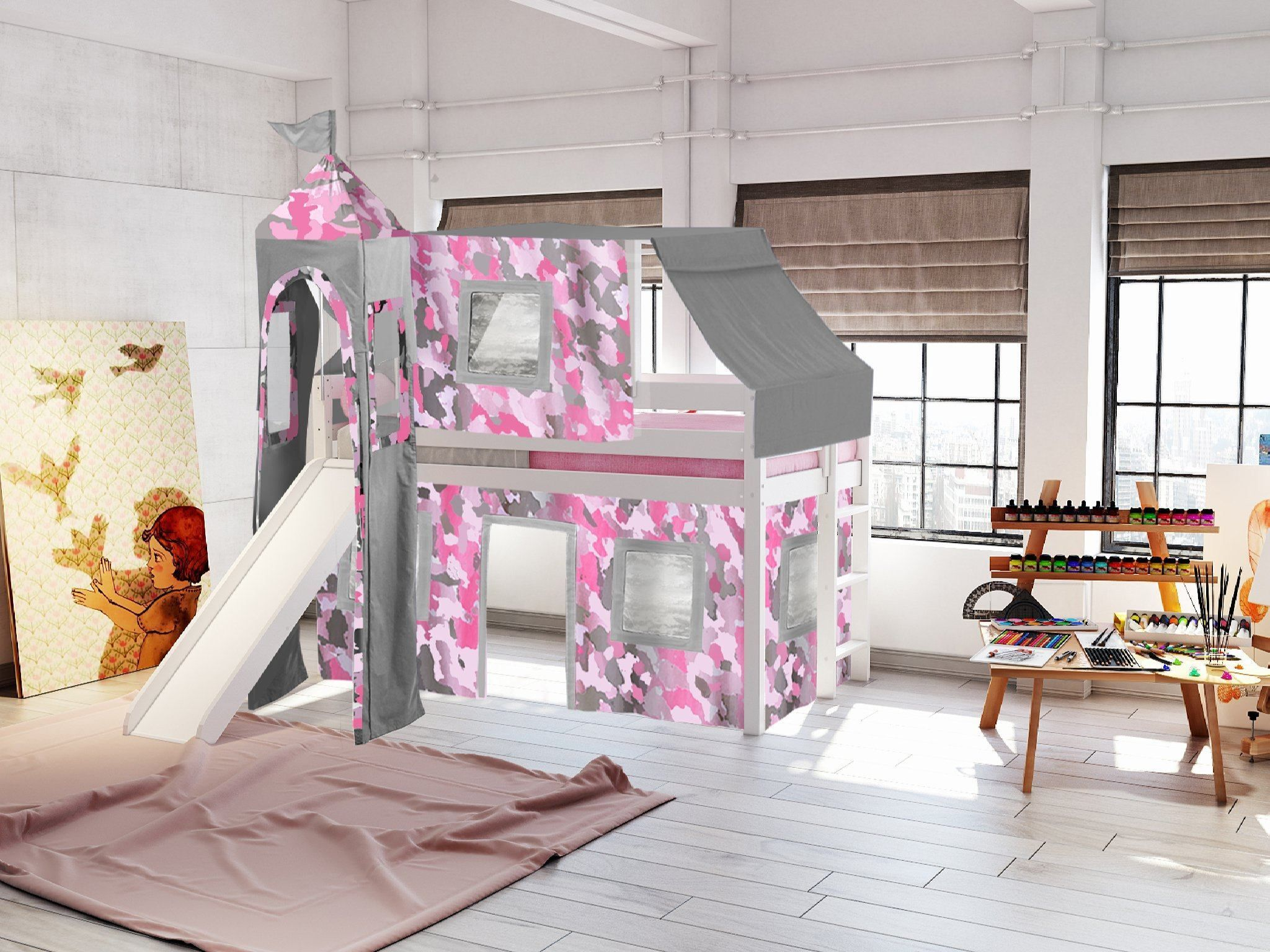 Jackpot Princess Twin Low Loft Bed In White With Slide Pink Camo Tent Low Loft Beds Bed Pink Bedding