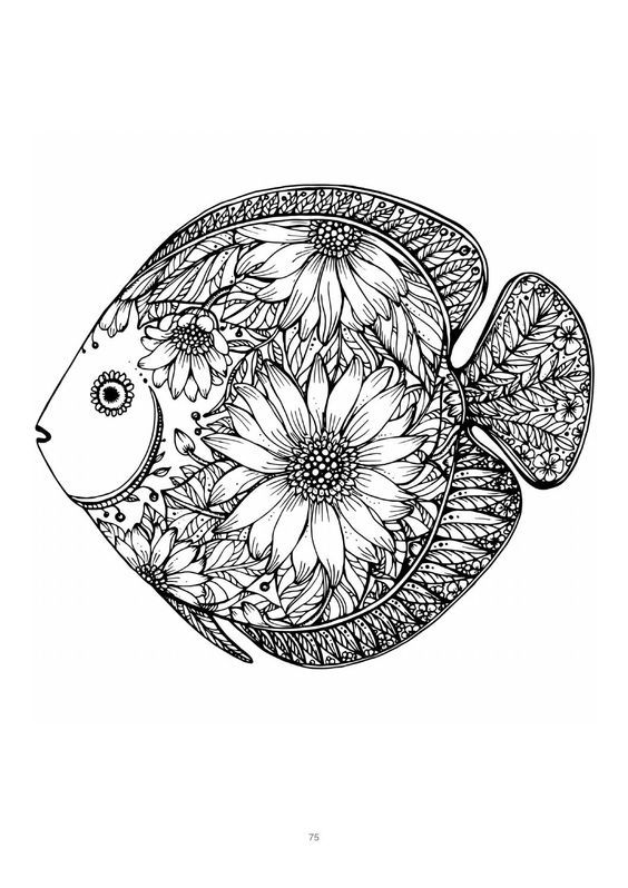 Mind Massage colouring book for adults | Fish coloring page ...