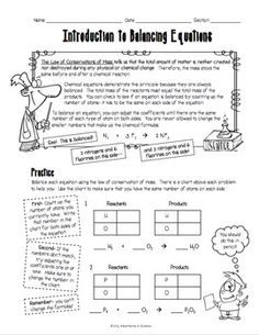 Introduction To Balancing Chemical Equations Worksheet Science Introduction Worksheet Military This Introduction To Balancing Chemical Equations Worksheet Was Designed For Middle And High School Students Just Learning About Balancing Chemical