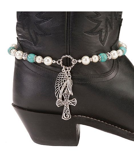 Silver Turquoise /& Crystals Boot Bracelet Bling Chain Motorcycle Accessory Costume Jewelry Western Fun Cowgirl Biker Fashion Statement Dress