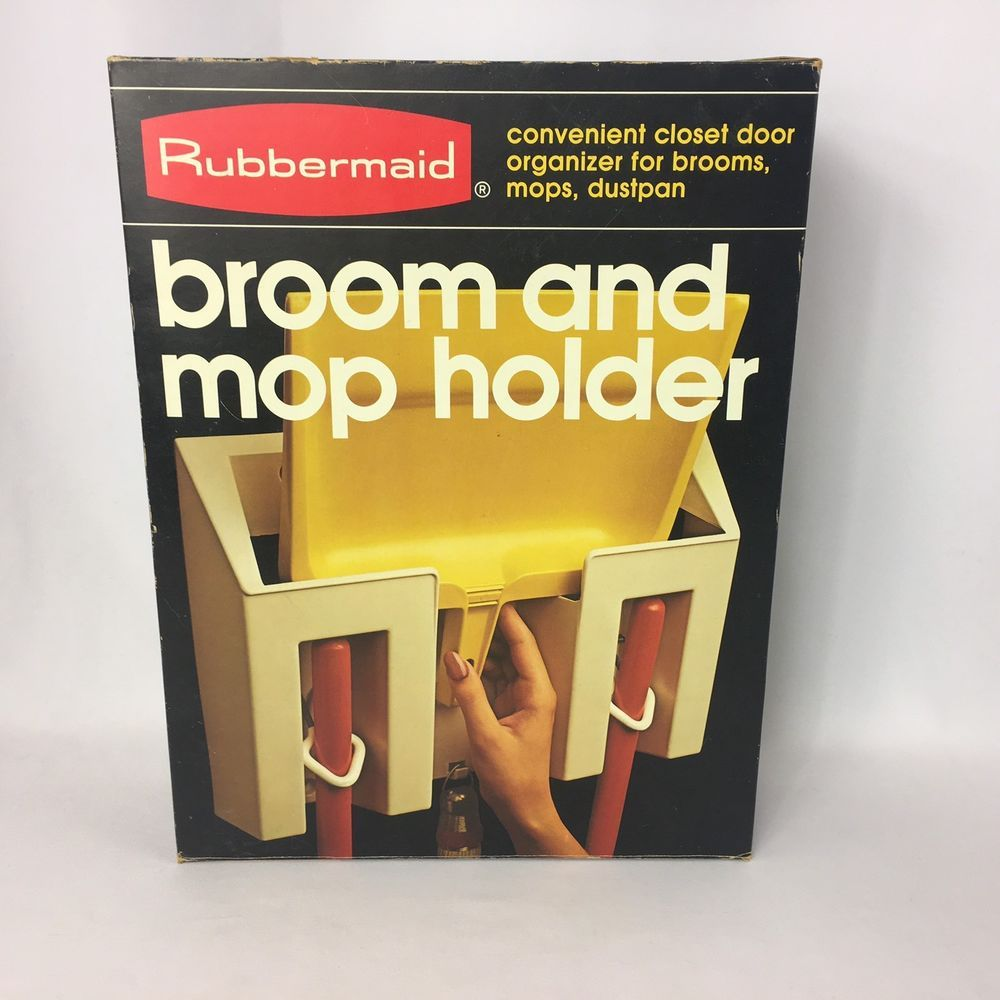 Rubbermaid Broom And Mop Holder Wall Mount Kitchen Pantry Broom Closet In  Box #Rubbermaid