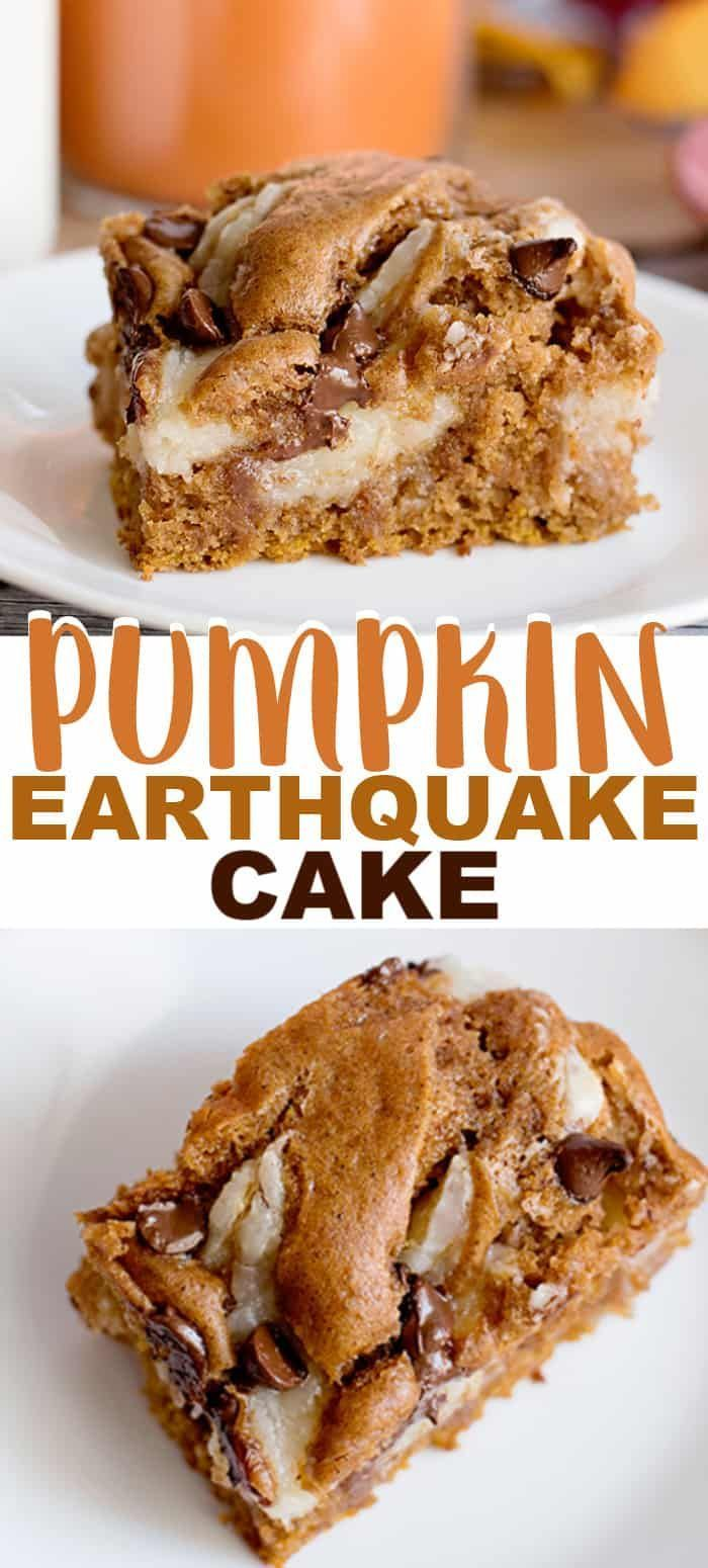 Pumpkin Earthquake Cake - This easy Pumpkin Earthquake Cake is perfect for fall! It's made with a moist, spice cake mix that's been doctored up with canned pumpkin, pumpkin spice and more. There's a cream cheese filling swirled into a  pumpkin spice cake and milk chocolate chips sprinkled on top. #falldesserts #pumpkinspice #pumpkinrecipe #pumpkincake #dessertfoodrecipes #cookiedoughandovenmitt #fall Desserts #falldesserts
