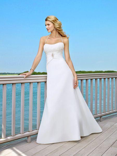 Seductive Halter Chiffon Satin Beach Bridal Apparels with Empire ...
