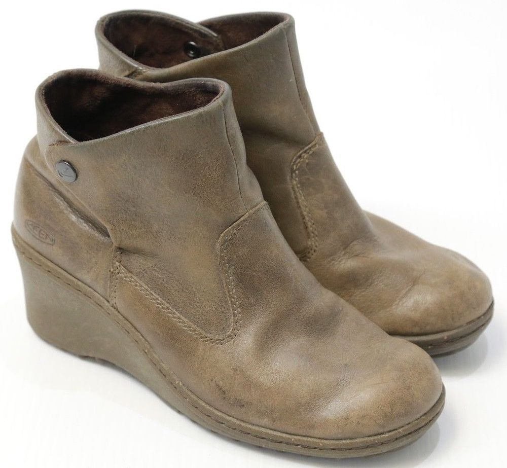 ef287c1ea02 Women s Keen Akita Brown Leather Snap Button Ankle Boots Wedge 8.5  KEEN   AnkleBoots