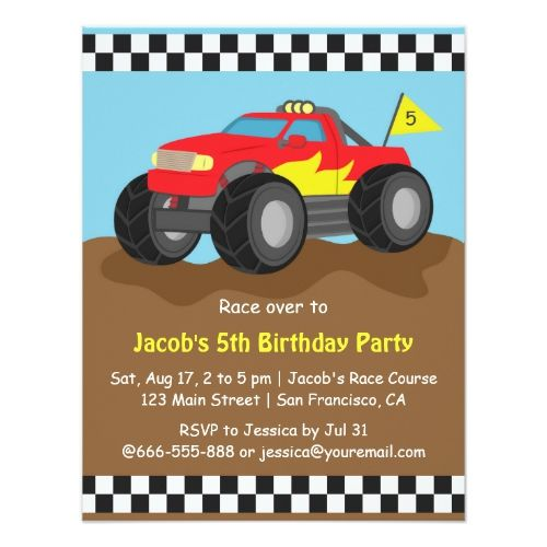 Red Monster Truck Birthday Party Invitation Zazzle Com With
