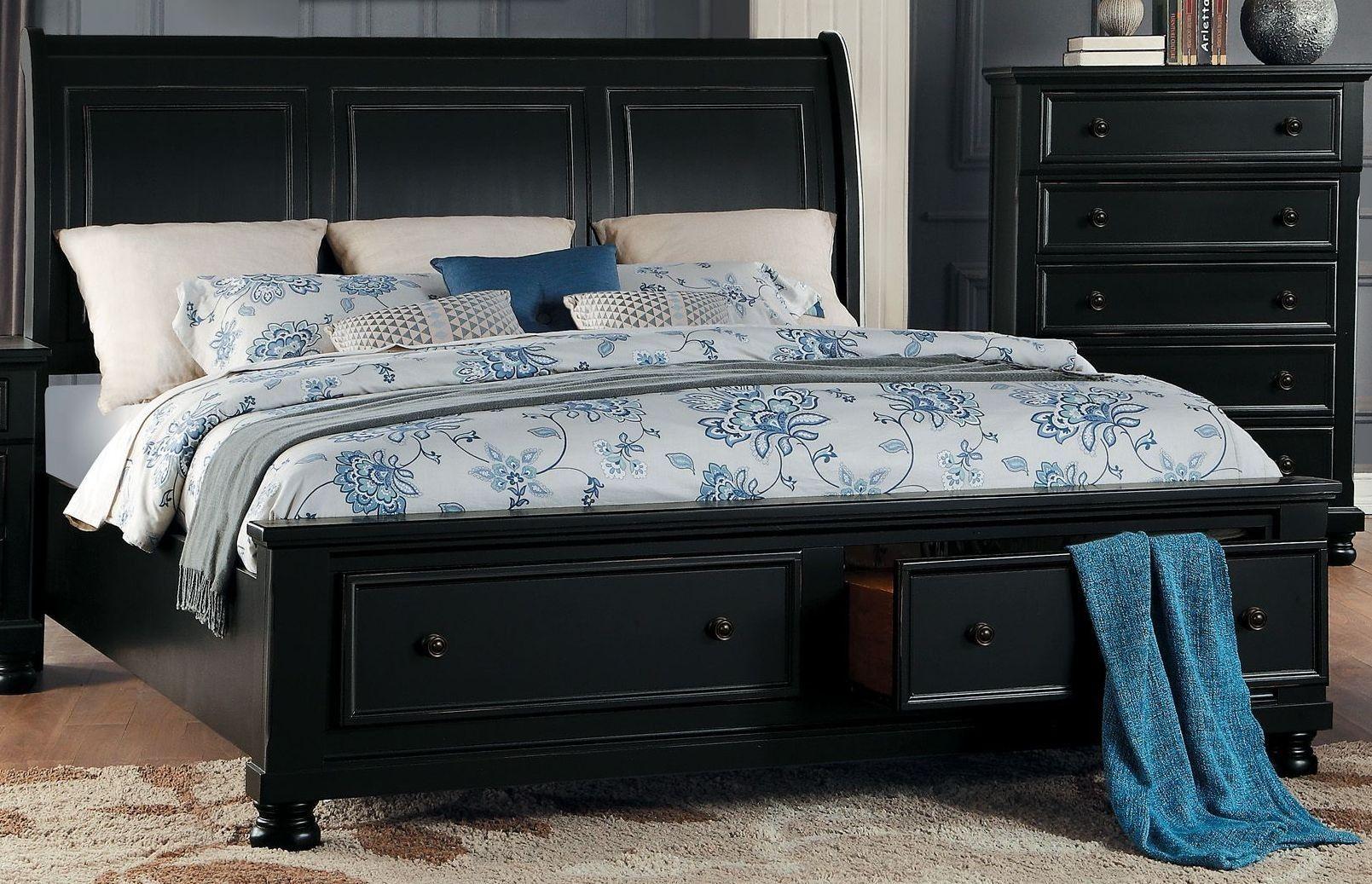 Laurelin Black King Sleigh Storage Bed Platform Bed With Storage King Size Bed Designs Queen Size Platform Bed